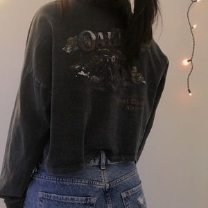 Washed Cropped Long Sleeve Henley Tee